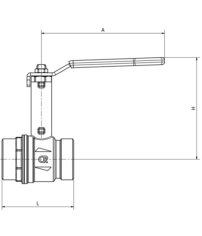 LK Ball Valve H.lever M-thread Measurement drawing (LKS)