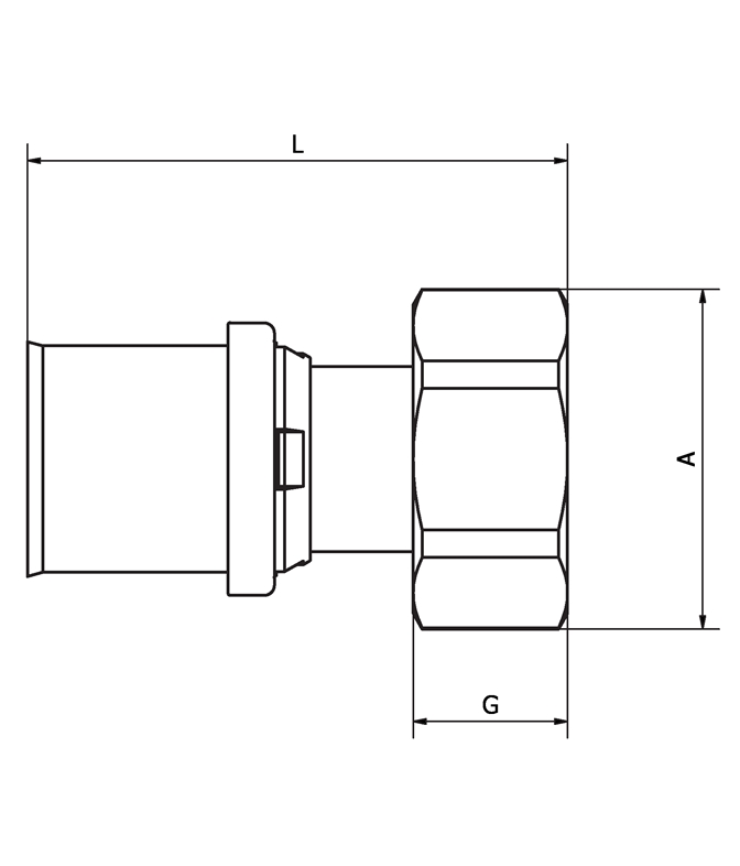 LK PressPex Valve Fitting Measurement drawing (LKS)